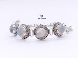 BRA82. Bracelet Tibétain Argent Massif Pierre de Lune