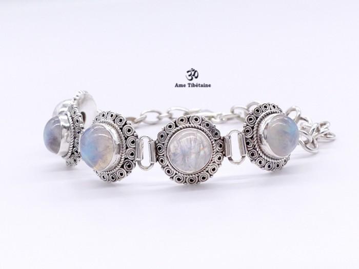 style le plus récent 100% qualité garantie collection entière BRA82. Bracelet Tibétain Argent Massif Pierre de Lune
