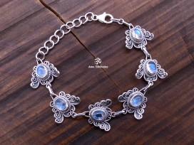 BRA83. Bracelet Tibétain Argent Massif Papillon Pierre de Lune