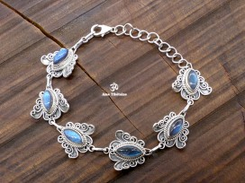 BRA84. Bracelet Tibétain Argent Massif Papillon Labradorite