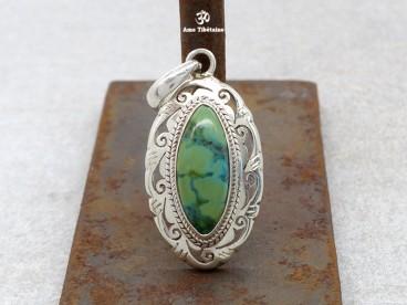 PA124 Pendentif Tibétain Argent Massif Turquoise