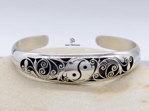 BRA67 Bracelet Tibétain Argent Massif Yin Yang