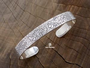 BRA48 Bracelet Tibétain Argent Massif Signes Auspicieux