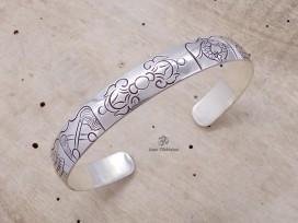 BRA57 Bracelet Tibétain Argent Massif Signes Auspicieux Dorje