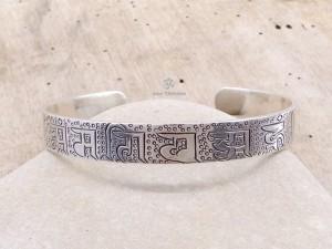 BRA56 Bracelet Tibétain Argent Massif Mantra Bouddhiste
