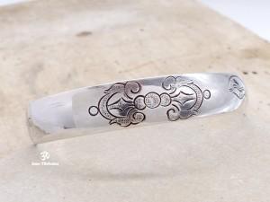 BRA58 Bracelet Tibétain Argent Massif Yeux de Bouddha Dorje