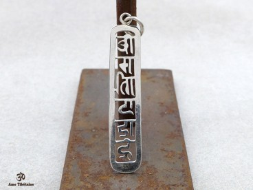 PA08 Pendentif Argent Massif Mantra Tibétain