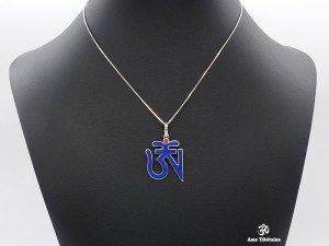 PA13 Pendentif Argent Massif Om Tibétain Lapis Lazuli Corail
