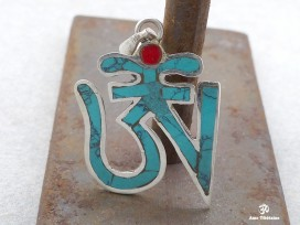 PA14 Pendentif Argent Massif Om Tibétain Turquoise Corail