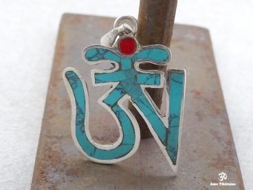 PA14 Pendentif Argent Massif Om Tibétain Turquoise Corail