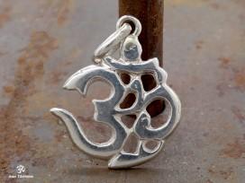 PA20 Pendentif Argent Massif Om Sanskrit