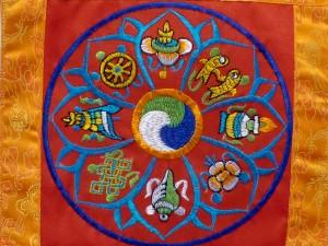 BB69 Bannière Tibétaine Signes Auspicieux du Bouddhisme