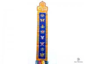 BB60 Bannière Tibétaine Signes Auspicieux du Bouddhisme