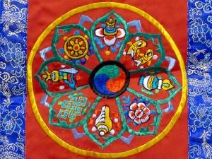 BB74 Bannière Tibétaine Signes Auspicieux du Bouddhisme