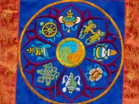 BB71 Bannière Tibétaine Signes Auspicieux du Bouddhisme