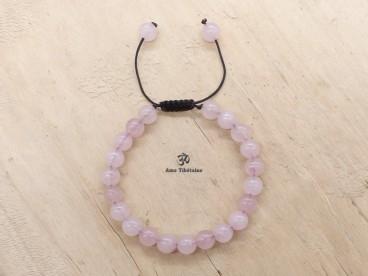 BrMala283 Bracelet Mala Quartz Rose. 21 cm