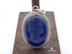 PA153 Pendentif Tibétain Argent Massif Lapis Lazuli
