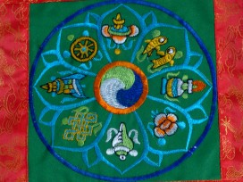 BB70 Bannière Tibétaine Signes Auspicieux du Bouddhisme