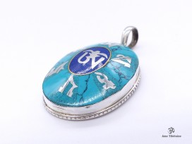 PA24 Pendentif Argent Massif Mantra Tibétain Om