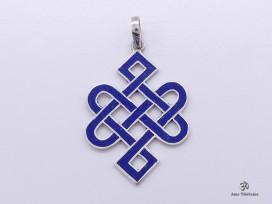 PA56 Pendentif Argent Massif Nœud Sans Fin Signes Auspicieux Lapis Lazuli