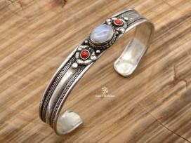 BRD354 Bracelet Tibétain Métal Argenté