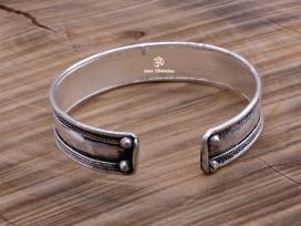 BRD356 Bracelet Tibétain Métal Argenté