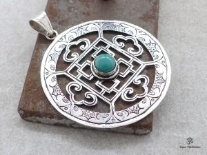 PA285 Pendentif Argent Massif Tibétain Mandala Turquoise