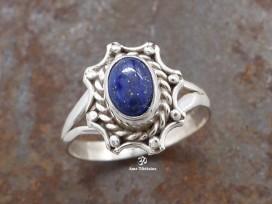 BA130 Bague Tibétaine Argent Massif Lapis Lazuli. Taille 54