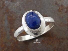 BA165 Bague Tibétaine Argent Massif Lapis Lazuli. Taille 59
