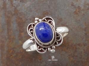 BA186 Bague Tibétaine Argent Massif Lapis Lazuli. Taille 58