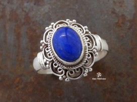 BA196 Bague Tibétaine Argent Massif Lapis Lazuli. Taille 60