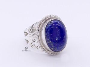 BA195 Bague Tibétaine Argent Massif Lapis Lazuli. Taille 58