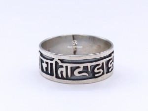 BA156 Bague Argent Massif Mantra Tibétain Om Mani Padme Hum
