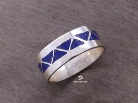 BA161 Bague Tibétaine Argent Massif Lapis Lazuli