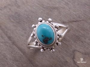 BA231 Bague Tibétaine Argent Massif Turquoise. Taille 58