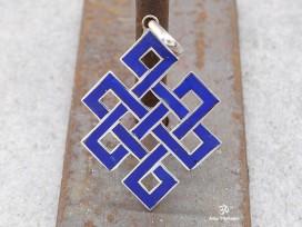 PA59 Pendentif Argent Massif Nœud Sans Fin Signes Auspicieux Lapis Lazuli