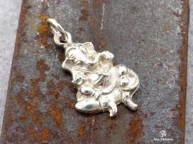 PA90 Pendentif Argent Massif Ganesh, Le dieu hindou à la tête d'éléphant