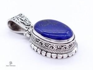 PA205. Pendentif Tibétain Argent Massif Lapis Lazuli