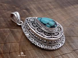 PA423. Pendentif Tibétain Argent Massif Turquoise