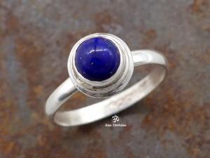 BA285 Bague Tibétaine Argent Massif Lapis Lazuli. Taille 54