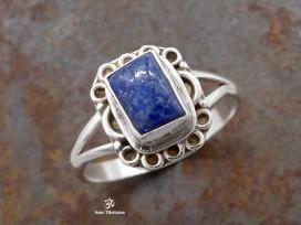 BA286 Bague Tibétaine Argent Massif Lapis Lazuli. Taille 54