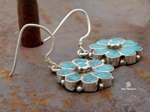 BdOA114 Boucles d'Oreille Tibétaines Argent Massif Turquoise