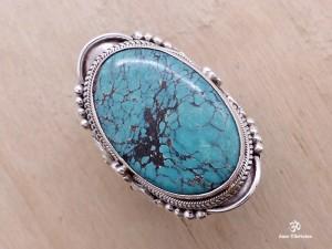 BA141 Bague Tibétaine Argent Massif Turquoise. Taille 62