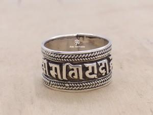 BA155 Bague Argent Massif Mantra Tibétain Om Mani Padme Hum