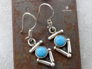 BdOA20 Boucles d'Oreille Argent Massif Nœud Sans Fin Turquoise