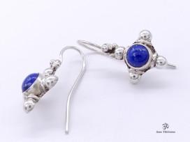 BdOA108 Boucles d'Oreille Tibétaines Argent Massif Lapis Lazuli