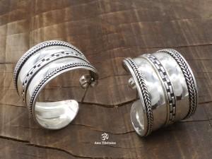 BdOA121 Boucles d'Oreille Tibétaines Argent Massif