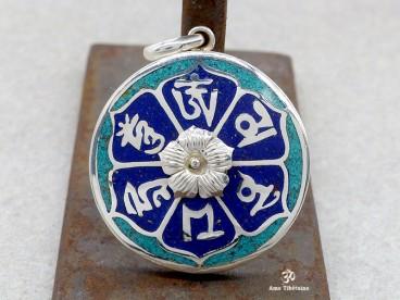 PA95 Pendentif Argent Massif Mantra Tibétain Om Mani Padme Hum