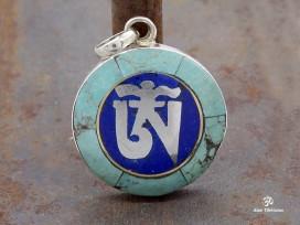 PA110 Pendentif Argent Massif Om Tibétain