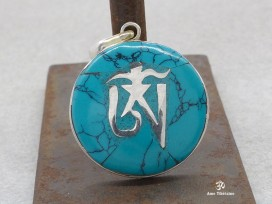 PA134 Pendentif Argent Massif Om Tibétain Turquoise